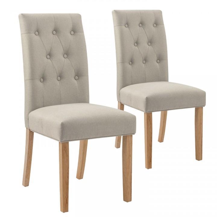 Lot de 2 chaises capitonnées Gaya tissu beige