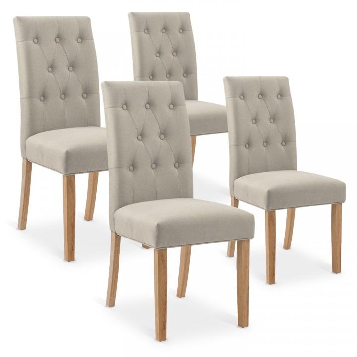Lot de 4 chaises capitonnées Gaya tissu beige