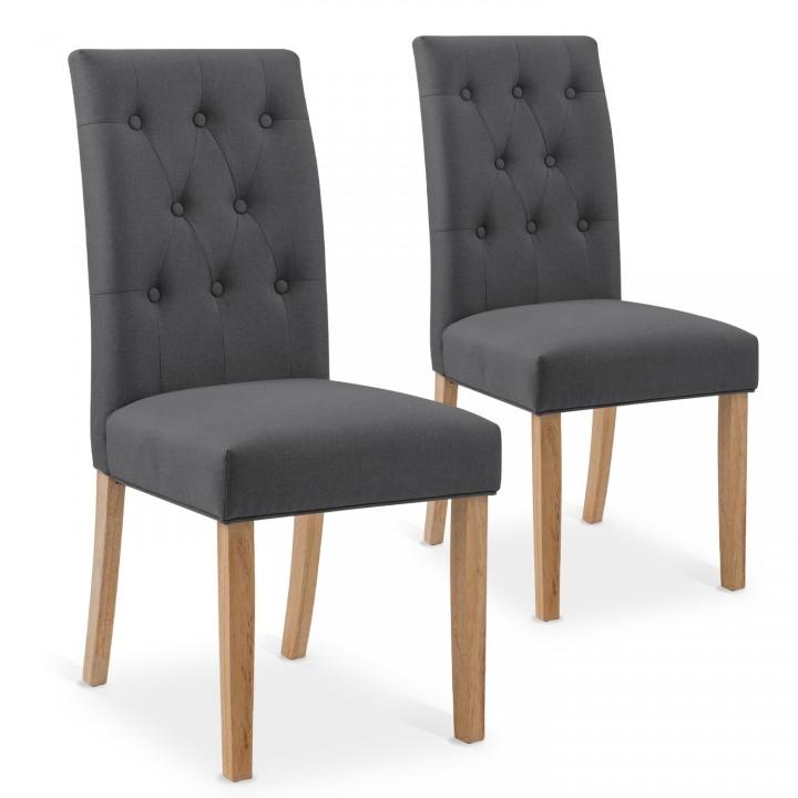Lot de 2 chaises capitonnées Gaya tissu gris