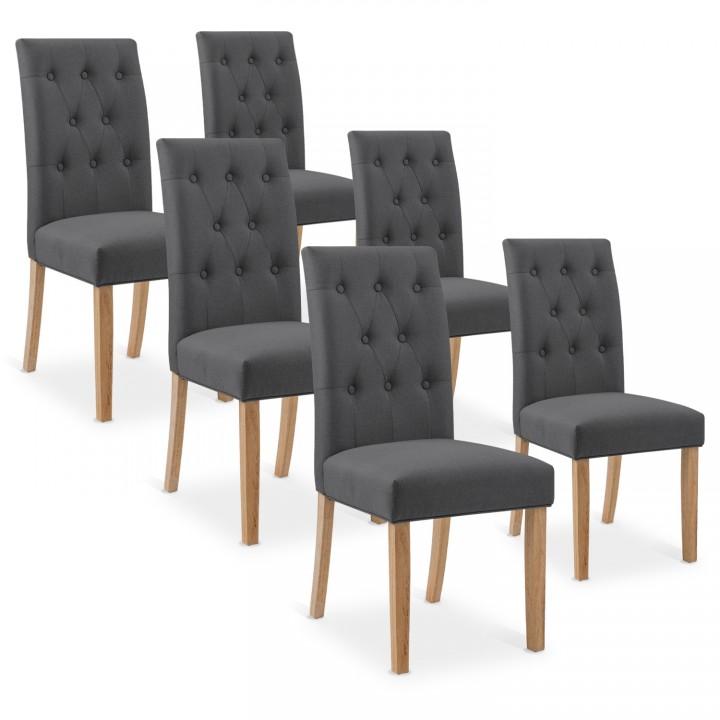 Lot de 6 chaises capitonnées Gaya tissu gris