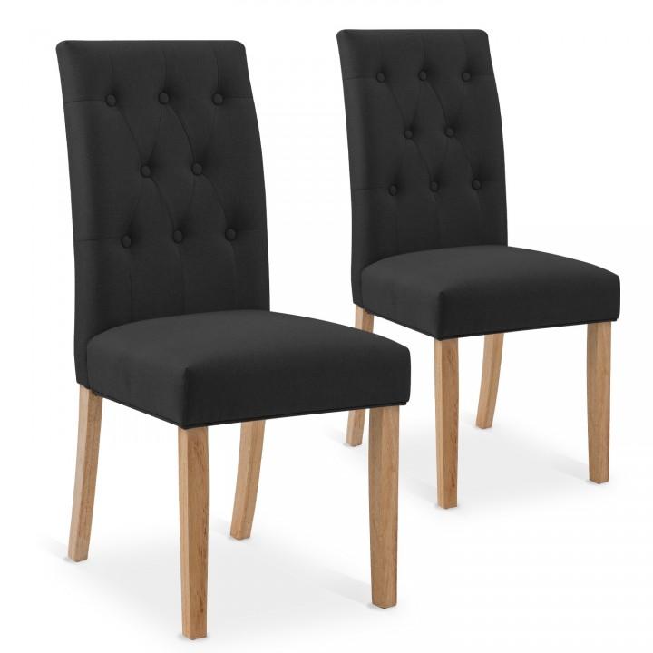 Lot de 2 chaises capitonnées Gaya tissu noir