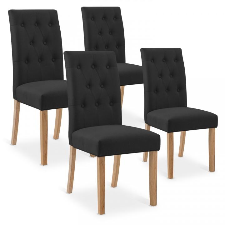 Lot de 4 chaises capitonnées Gaya tissu noir