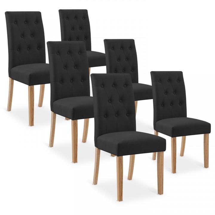 Lot de 6 chaises capitonnées Gaya tissu noir