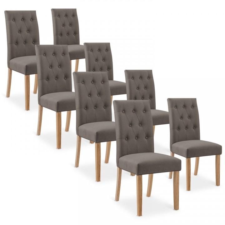 Lot de 8 chaises capitonnées Gaya tissu taupe