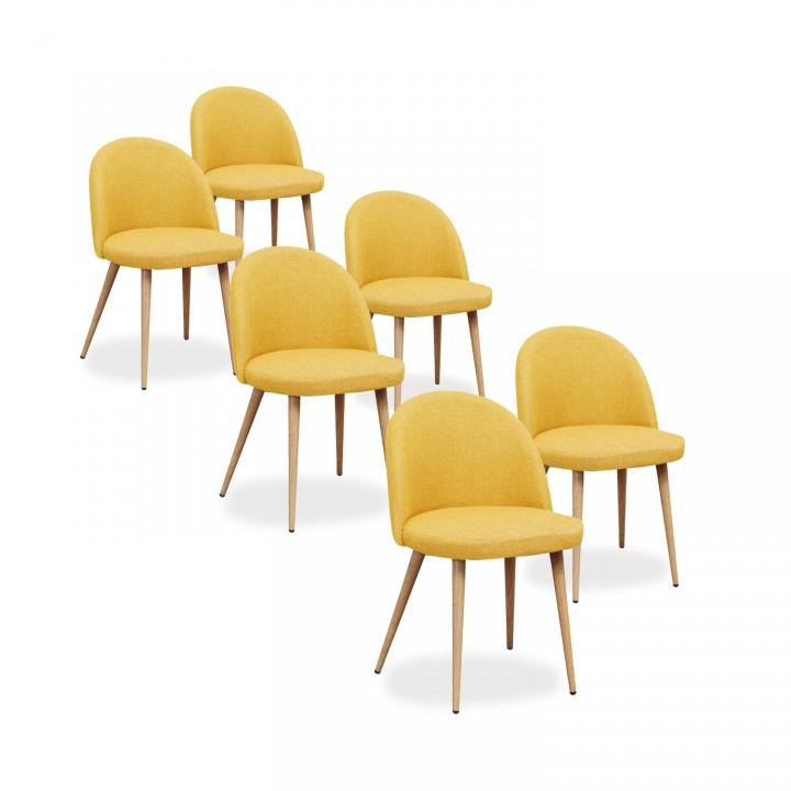 Lot de 6 chaises scandinaves Cecilia tissu Jaune