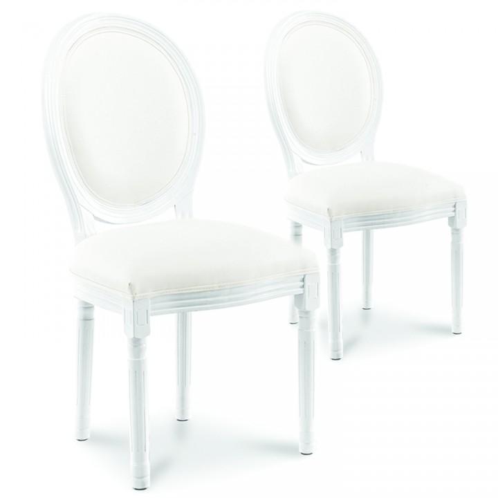 Lot de 2 chaises médaillon Louis XVI simili Blanc