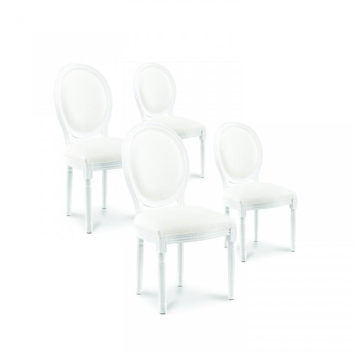 Lot de 4 chaises médaillon Louis XVI simili Blanc
