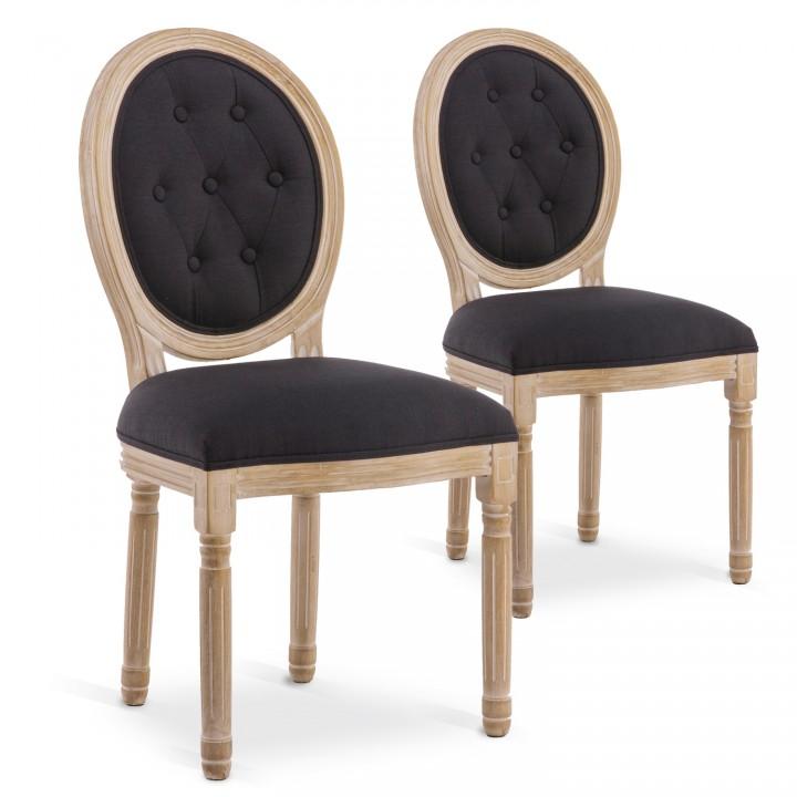 Lot de 2 chaises médaillon capitonnées Louis XVI tissu Noir