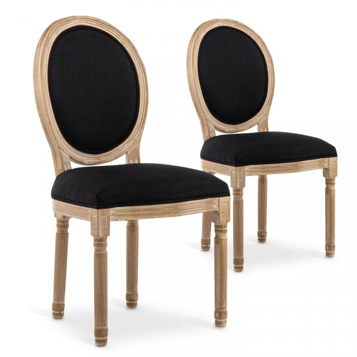 Lot de 2 chaises médaillon Louis XVI tissu Noir