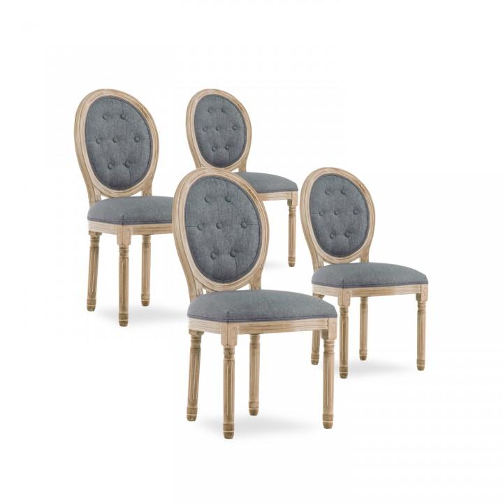 Lot de 4 chaises médaillon capitonnées Louis XVI tissu Gris