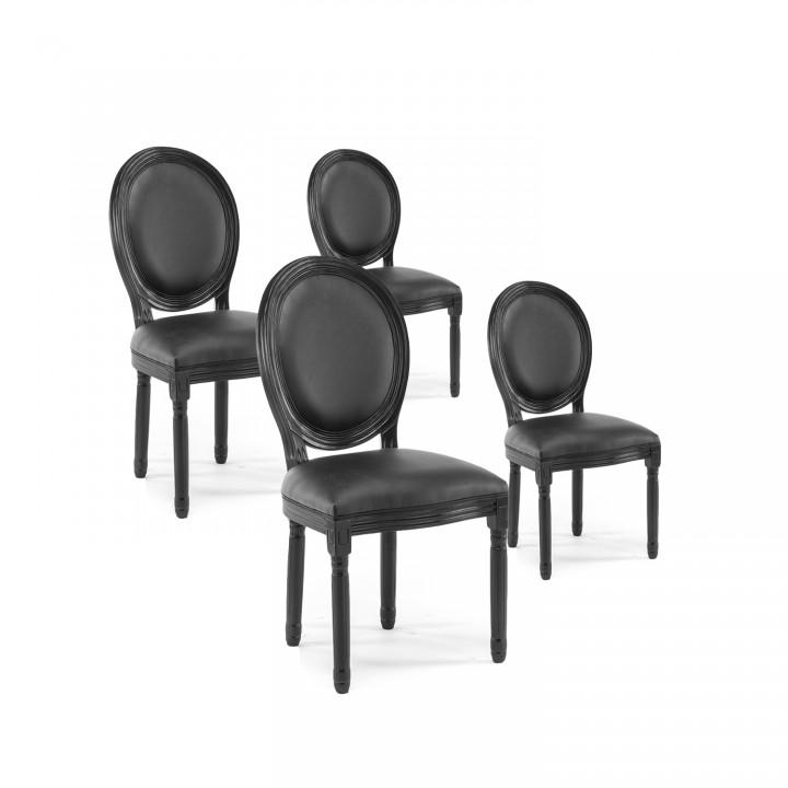 Lot de 4 chaises médaillon Louis XVI simili Noir