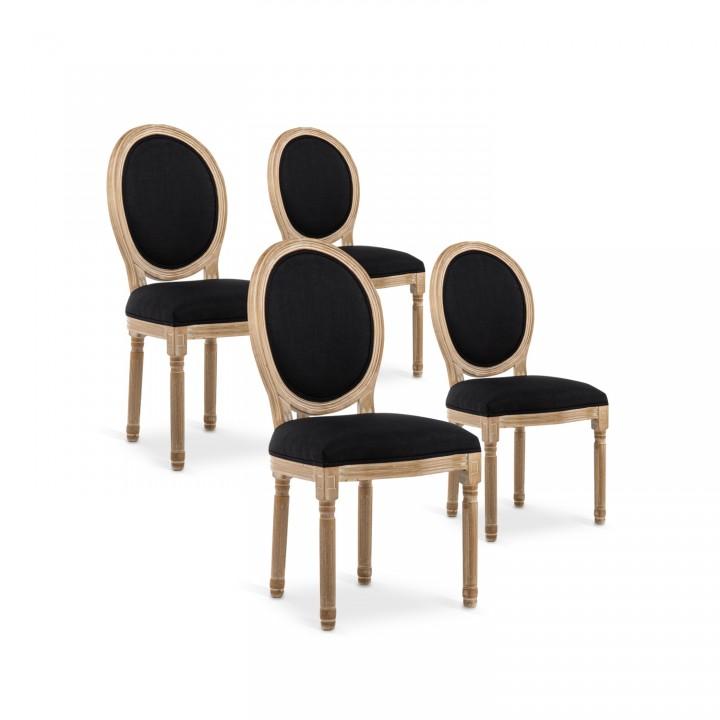 Lot de 4 chaises médaillon Louis XVI tissu Noir