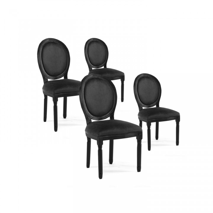 Lot de 4 chaises médaillon Louis XVI velours Noir