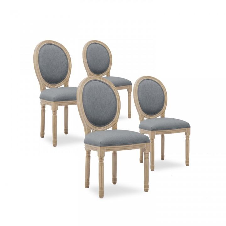 Lot de 4 chaises médaillon Louis XVI tissu Gris