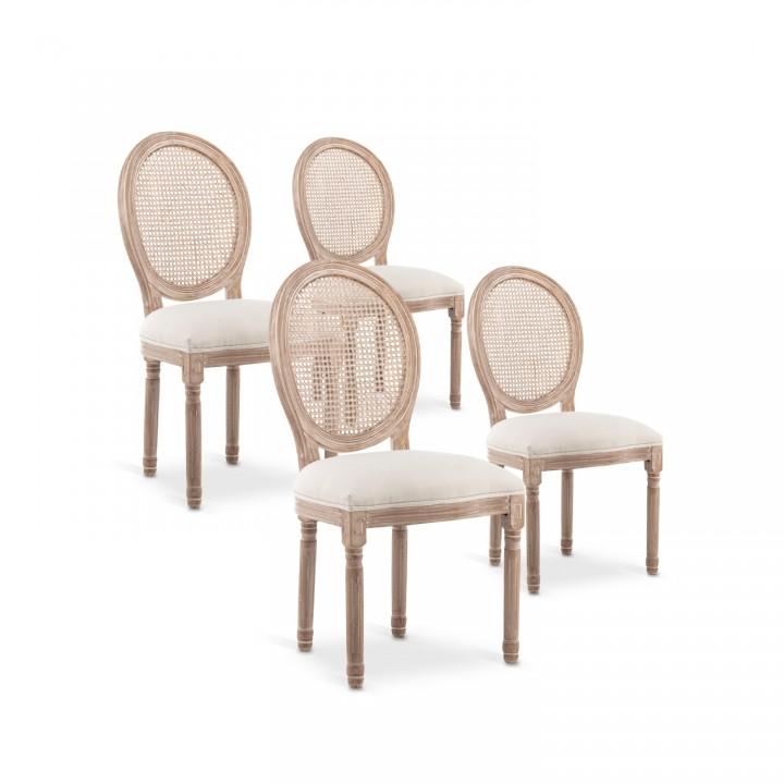 Lot de 4 chaises médaillon Louis XVI Cannage Rotin tissu Beige
