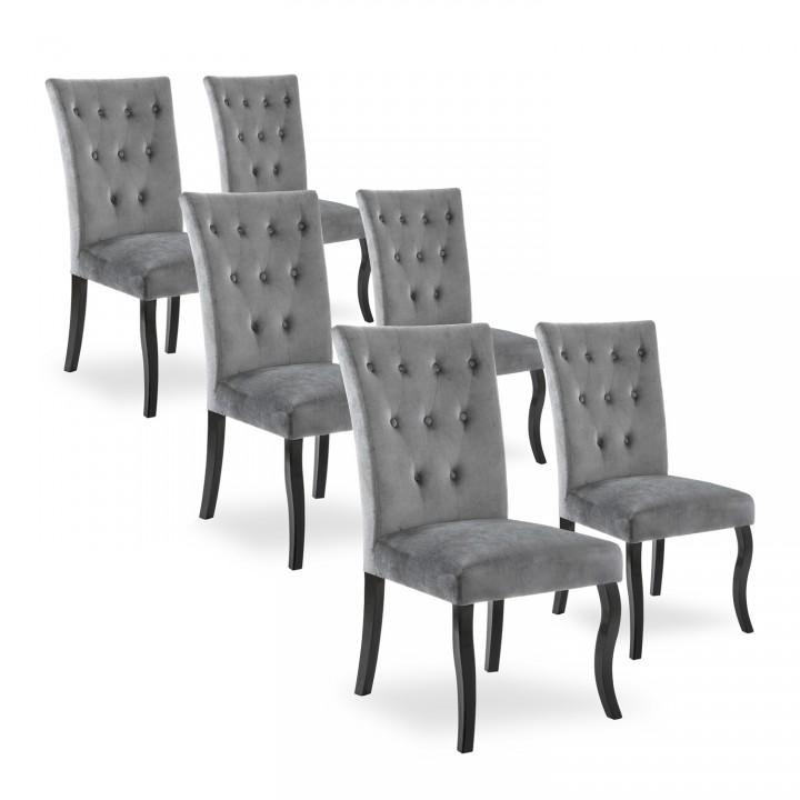 Lot de 6 chaises capitonnées Chaza Velours Gris