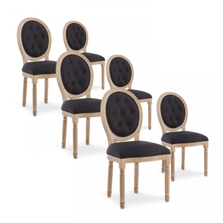 Lot de 6 chaises médaillon capitonnées Louis XVI tissu Noir