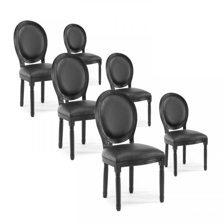 Lot de 6 chaises médaillon Louis XVI simili Noir
