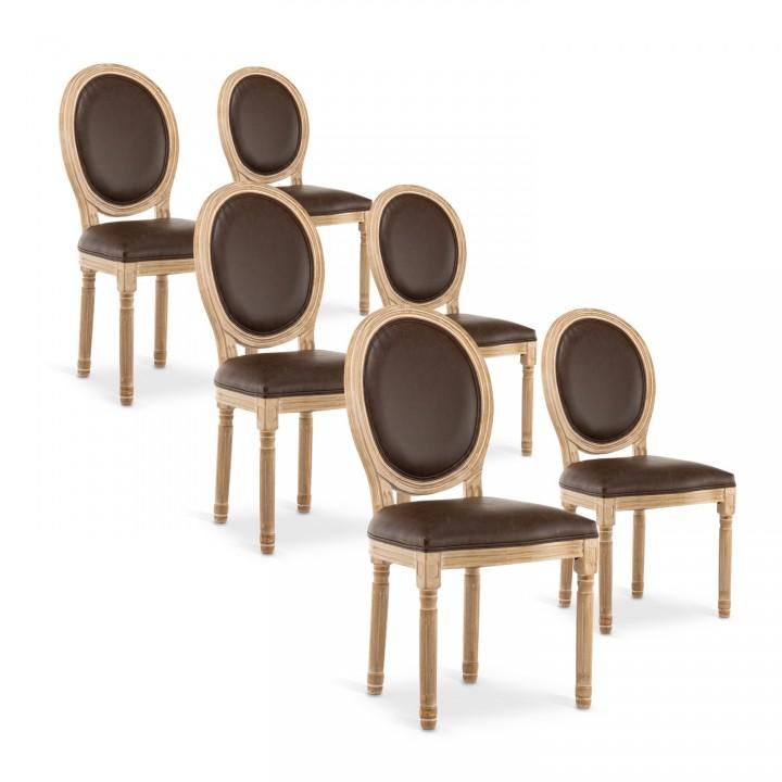 Lot de 6 chaises médaillon Louis XVI Vintage Simili Marron