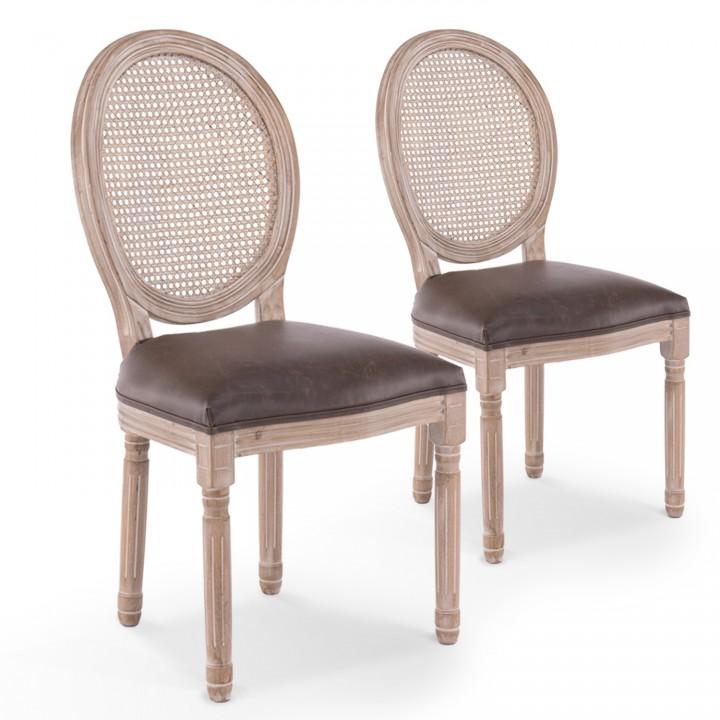 Lot de 2 chaises médaillon Louis XVI Cannage Rotin vintage