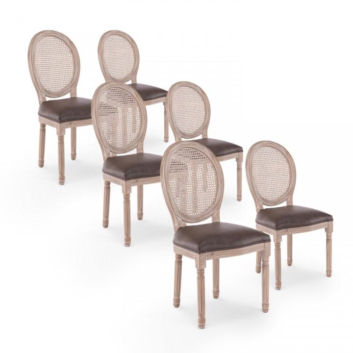 Lot de 6 chaises médaillon Louis XVI Cannage Rotin vintage