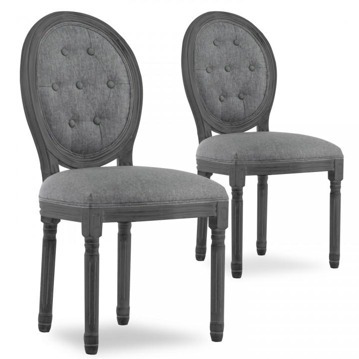 Lot de 2 chaises médaillon capitonnées Louis XVI tissu Gris bois Gris