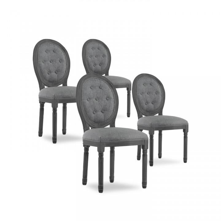 Lot de 4 chaises médaillon capitonnées Louis XVI tissu Gris bois Gris