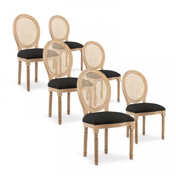 Lot de 6 chaises médaillon Louis XVI Cannage Rotin tissu Noir