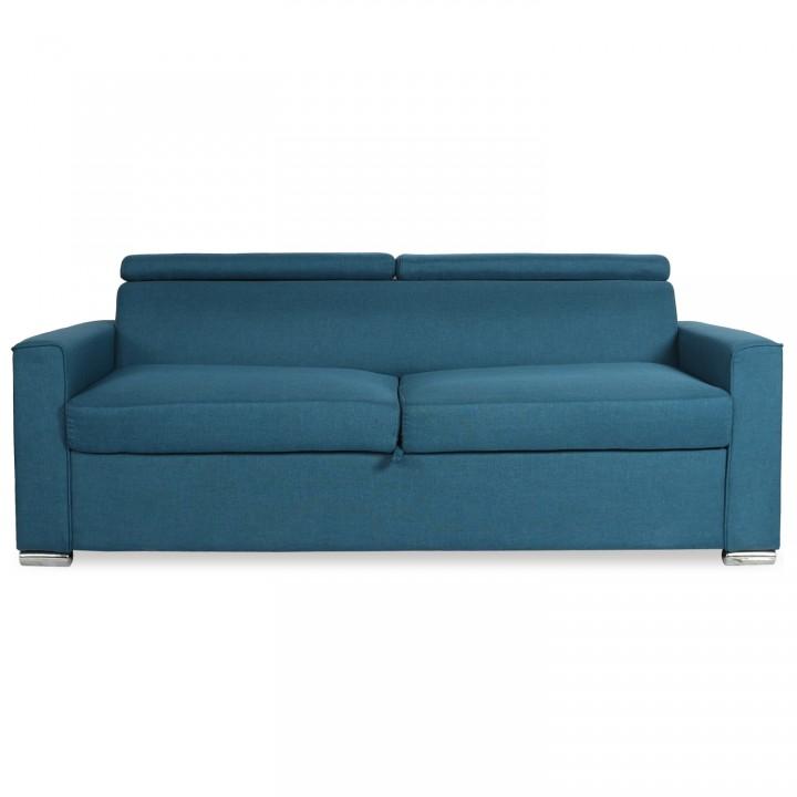Canapé convertible ouverture express avec matelas Noé Tissu Bleu Canard
