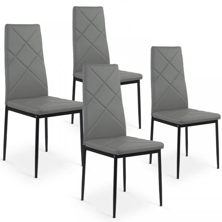 Lot de 4 chaises Paule Gris