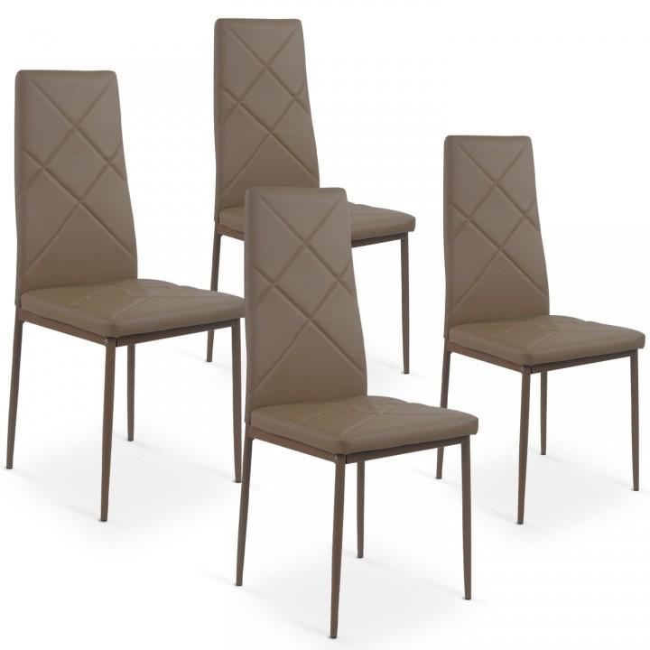 Lot de 4 chaises Paule Taupe