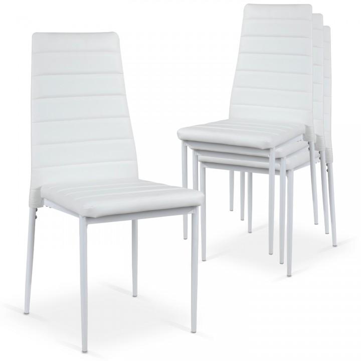 Lot de 4 chaises Strip empilables Blanc
