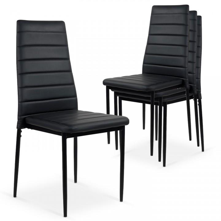 Lot de 4 chaises Strip empilables Noir