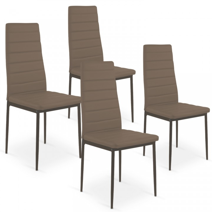 Lot de 4 chaises Strip Taupe
