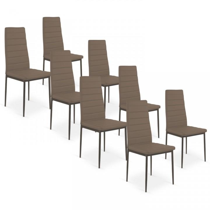 Lot de 8 chaises Strip Taupe