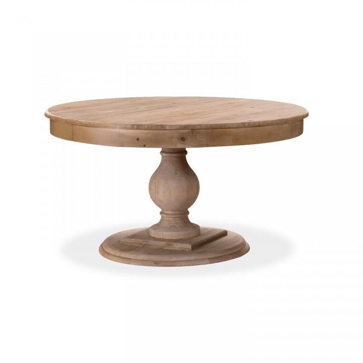 Table ronde extensible en bois massif Héloïse Bois naturel et pied naturel