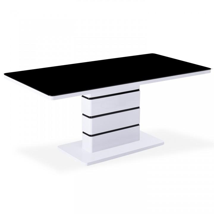 Table contemporaine Astrid XL Blanc et Noir - 6 à 8 personnes