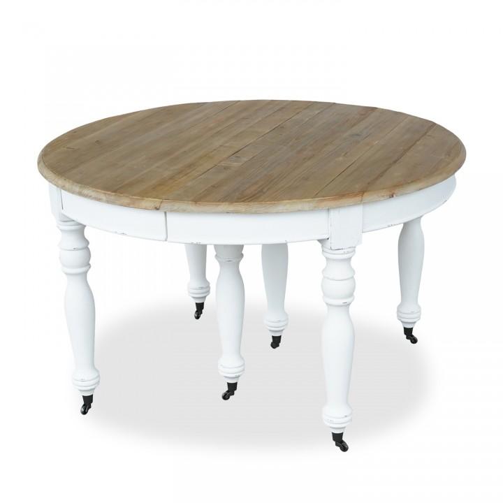 Table ronde extensible en bois massif LAVANDOU Blanc