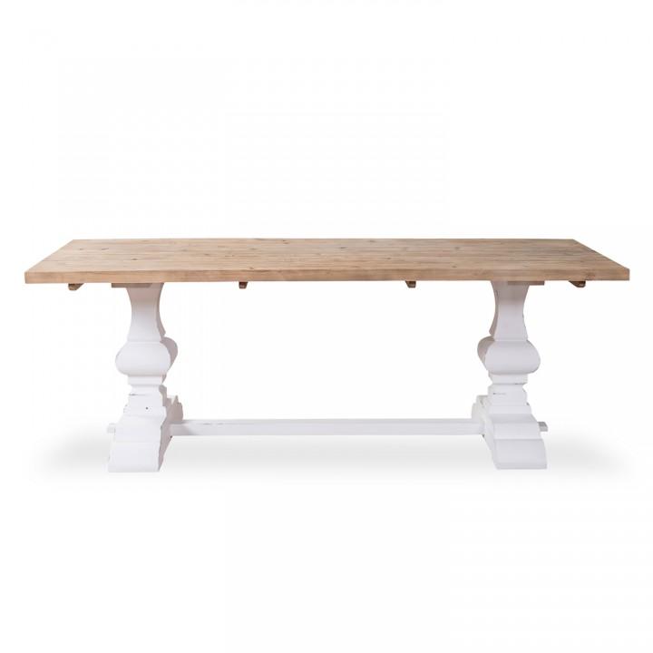 Table en pin vieilli LUBERON style monastère blanc