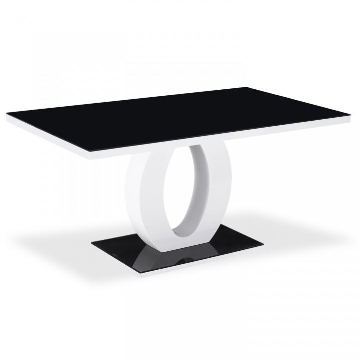 Table rectangulaire laquée Noir Ophélie