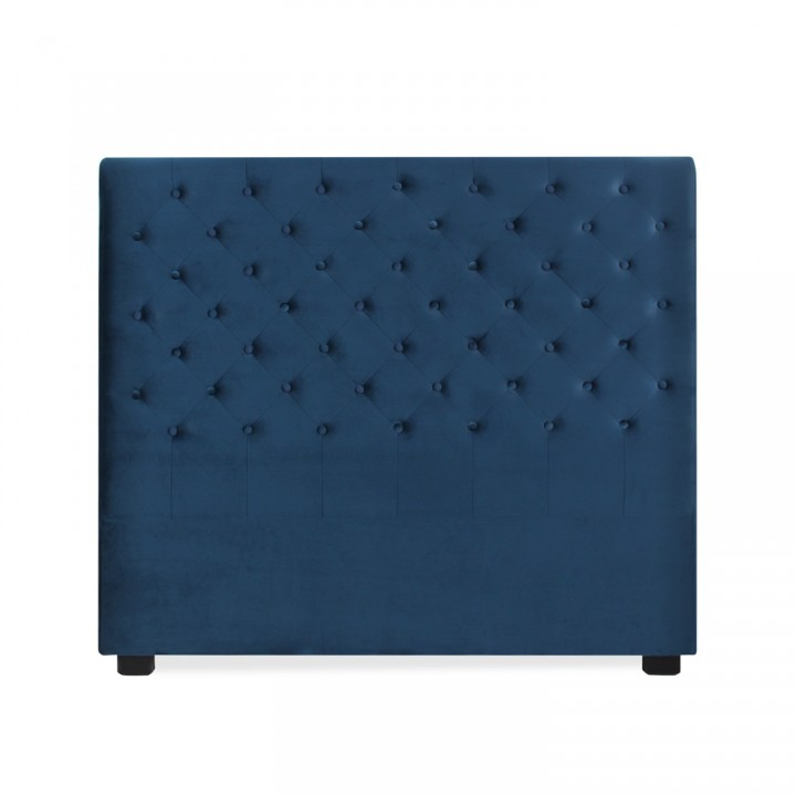 Tête de lit capitonnée Constance 140cm Velours Bleu Foncé