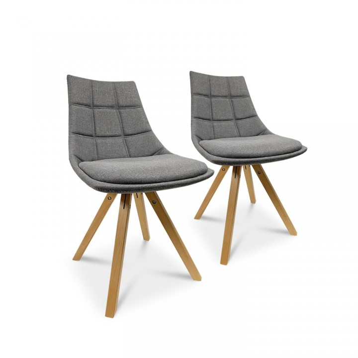 Lot de 2 chaises scandinaves Thilda tissu Gris
