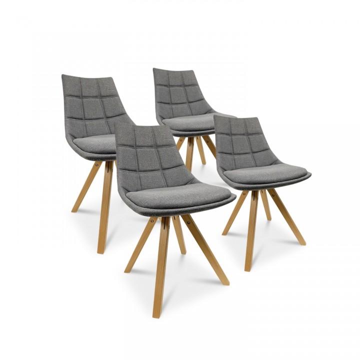 Lot de 4 chaises scandinaves Thilda tissu Gris