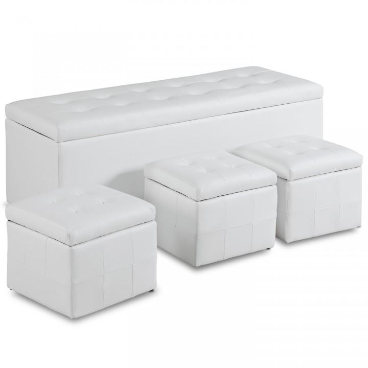 Banquette Coffre Valence XL + 3 poufs Blanc