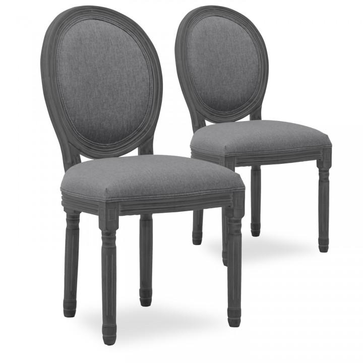 Lot de 2 chaises médaillon Louis XVI tissu Gris bois Gris