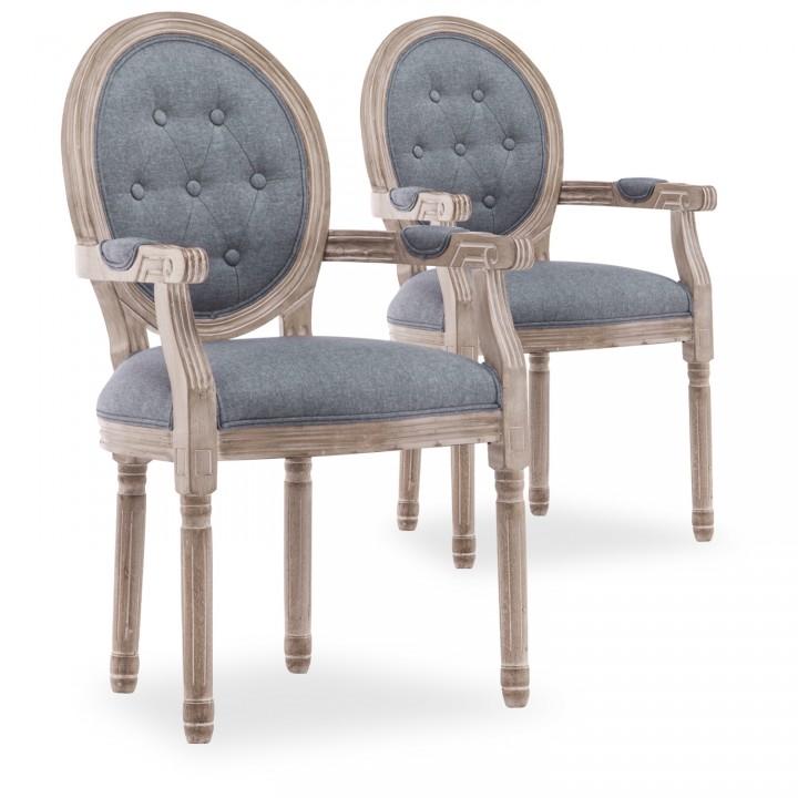 Lot de 2 fauteuils médaillon capitonnés Louis XVI tissu Gris