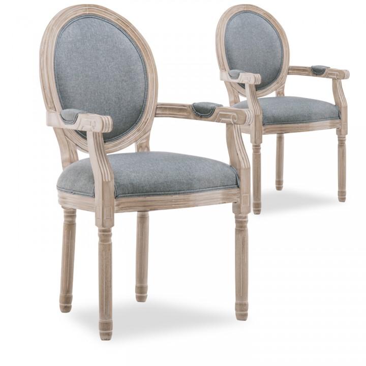 Lot de 2 fauteuils médaillon Louis XVI tissu Gris