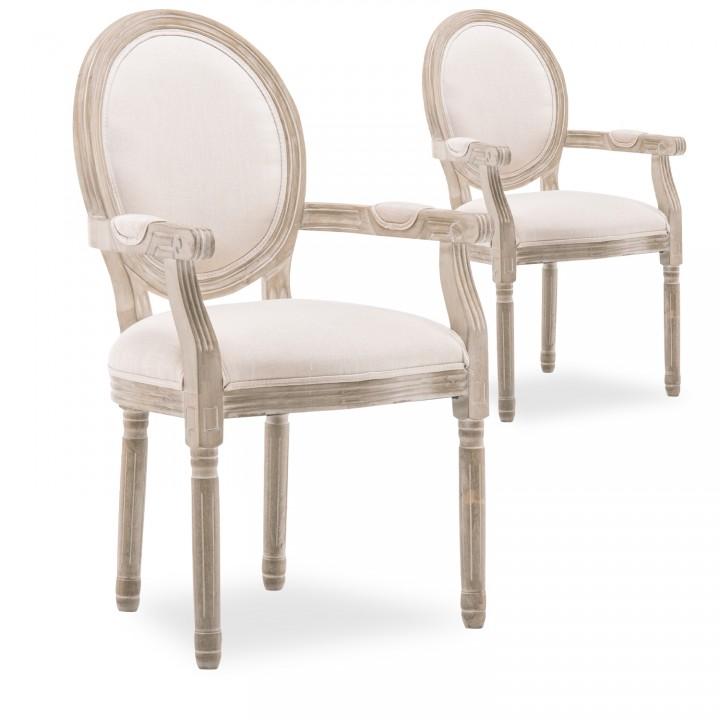 Lot de 2 fauteuils médaillon Louis XVI tissu Beige