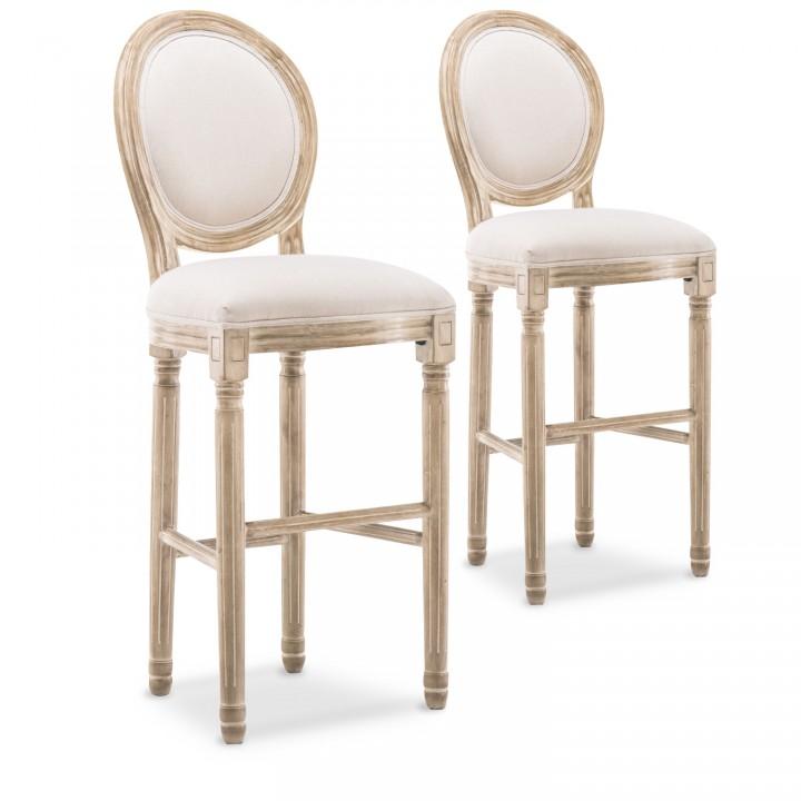 Lot de 2 chaises de bar médaillon Louis XVI tissu Beige