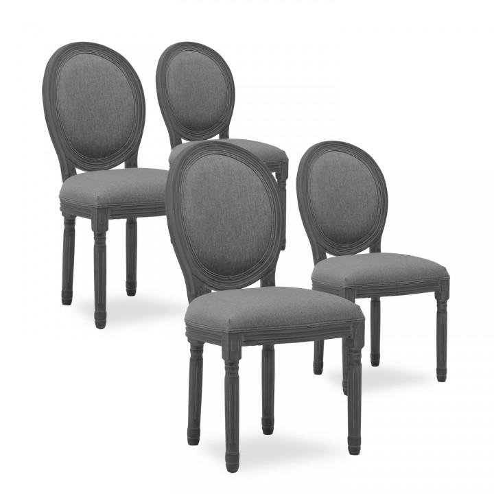 Lot de 4 chaises médaillon Louis XVI tissu Gris bois Gris
